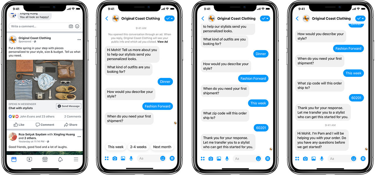 """alt=""""Facebook Messenger conversation between business and customer"""""""