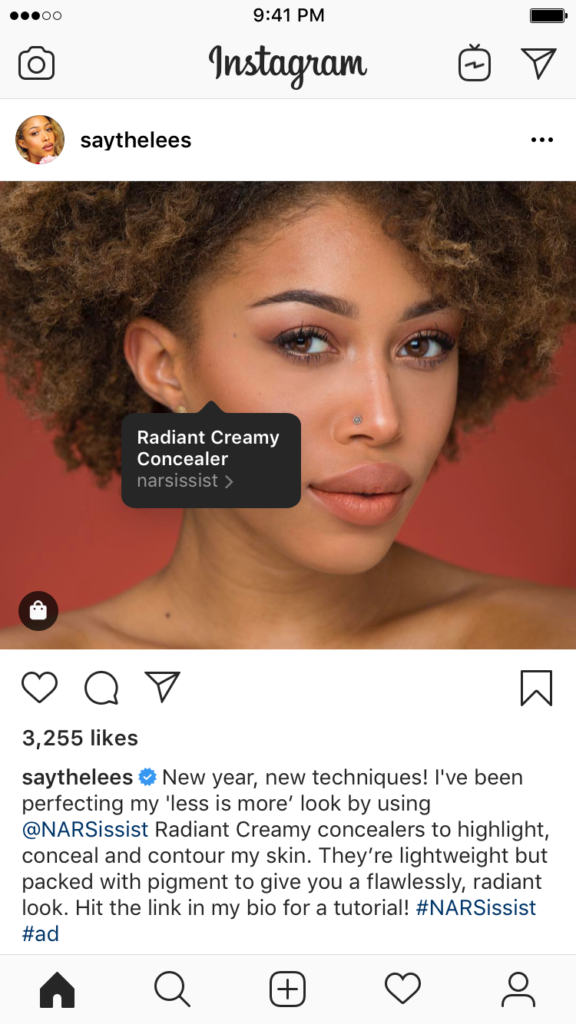 """alt= """"Instagram profile with shopping feature displaying on screen"""""""