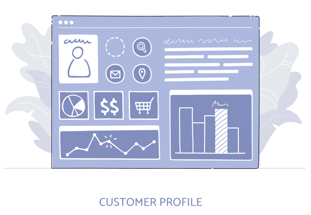 """alt=""""graph of a customer profile with data charts"""""""