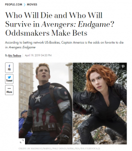 People article about Avengers betting odds
