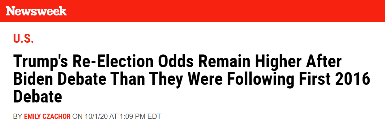 Newsweek article about 2020 election betting odds